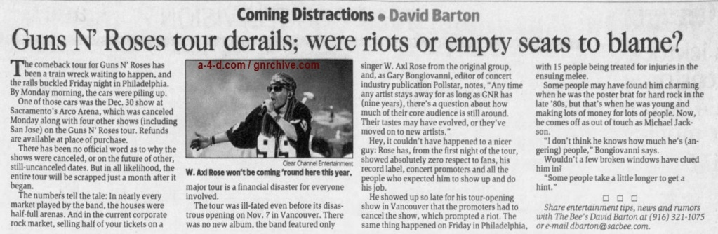 2002.12.10 - The Sacramento Bee - Guns N' Roses Tour Derails; Were Riots Or Empty Seats To Blame? 2002_187