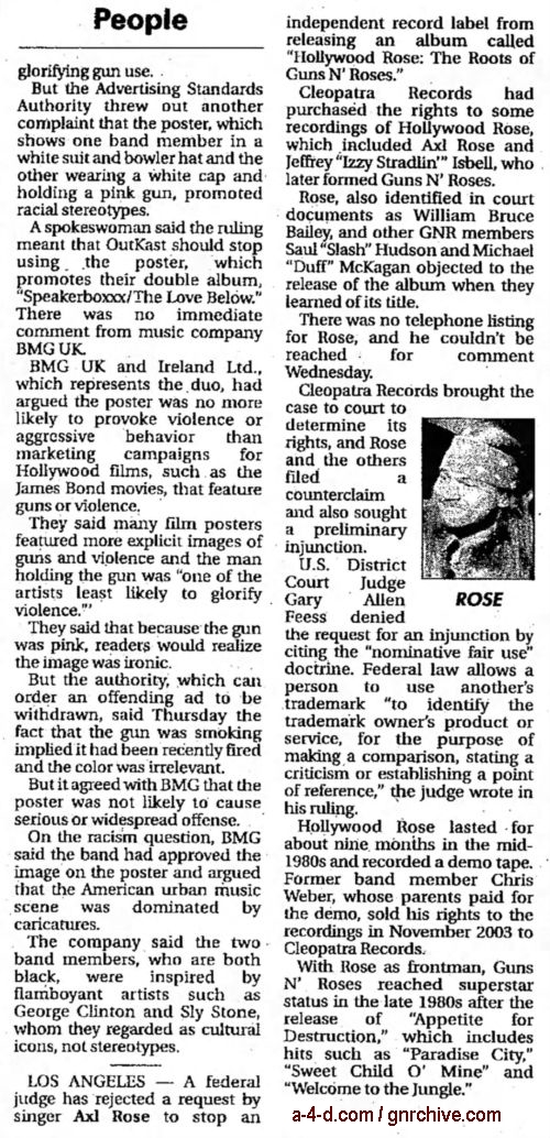 2004.07.09 - AP/Indiana Gazette - Judge Rejects Request To Stop Hollywood Rose Album 2004_022