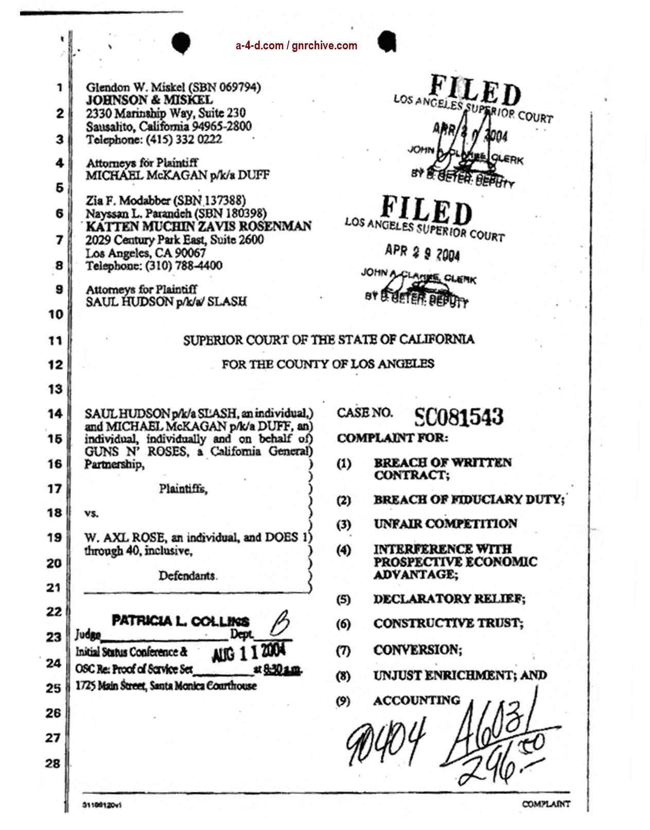 2004.04.29 - Slash & Duff Vs. Axl Lawsuit Document  2004_039