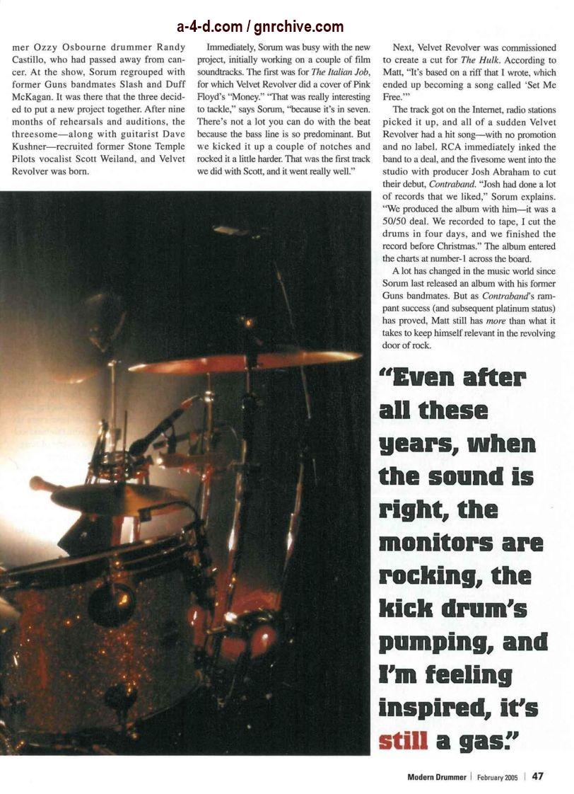 2005.02.DD - Modern Drummer - Matt Sorum: On Top... Again (Matt, Slash) 2005_014