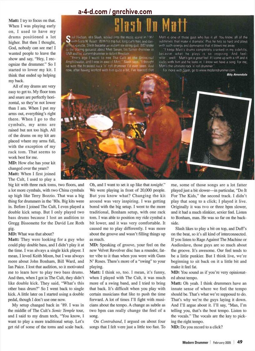 2005.02.DD - Modern Drummer - Matt Sorum: On Top... Again (Matt, Slash) 2005_016