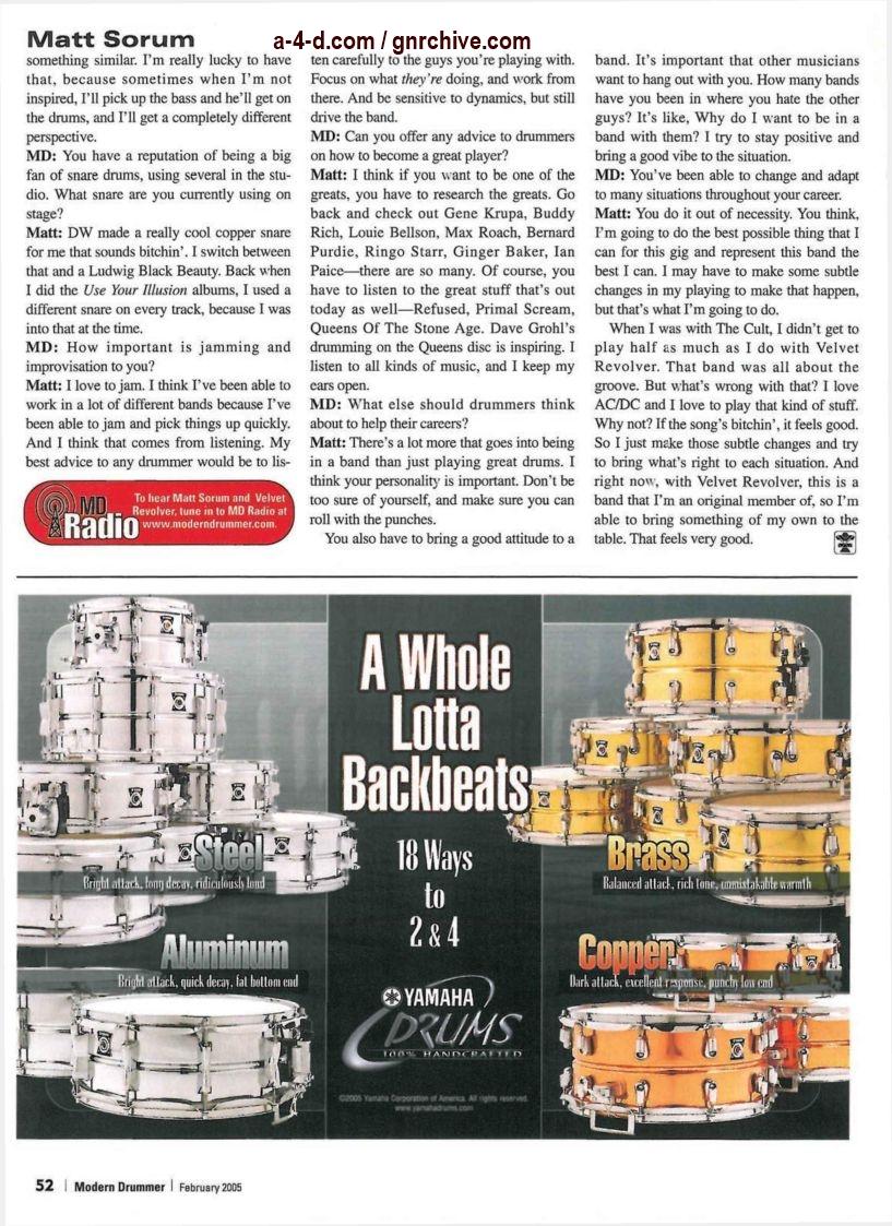2005.02.DD - Modern Drummer - Matt Sorum: On Top... Again (Matt, Slash) 2005_018