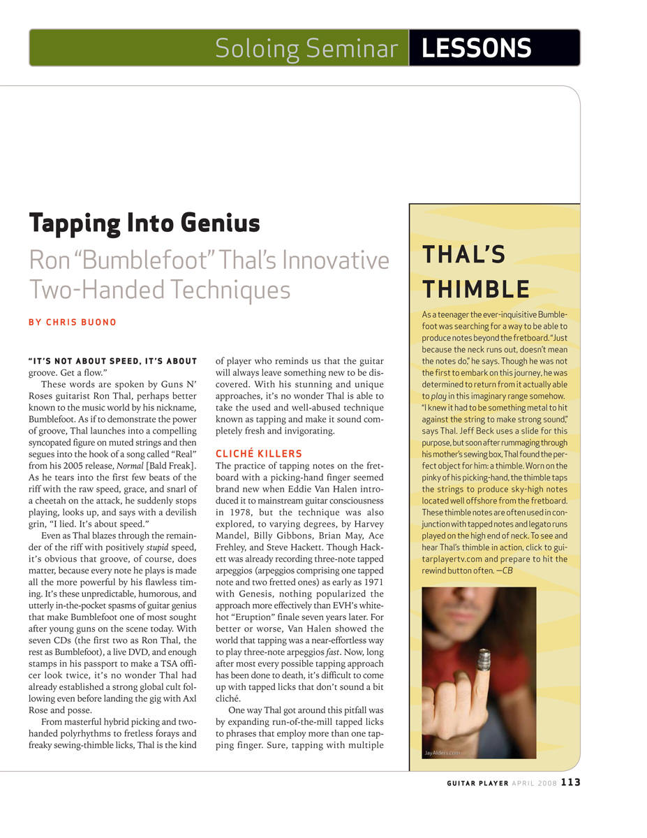 2008.04.DD - Guitar Player Magazine - Tapping Into Genius (Bumblefoot) 20080411