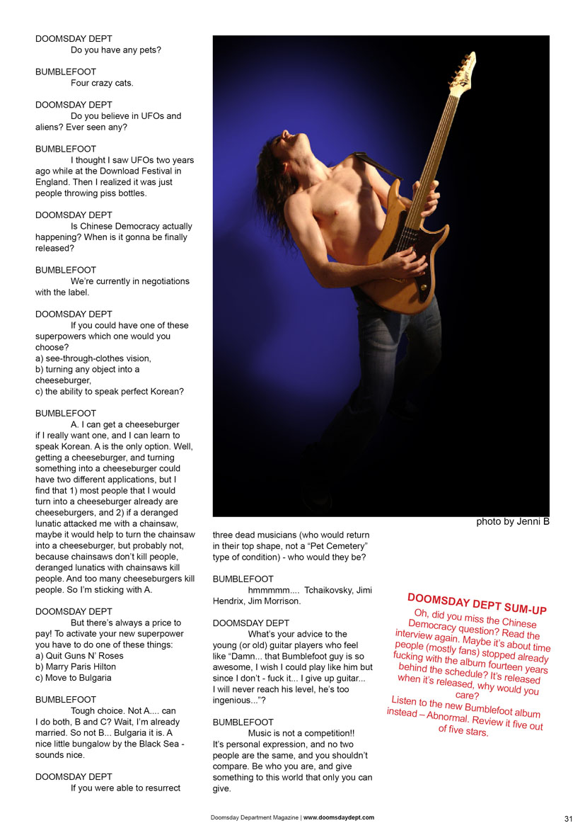 2008.07.DD - Doomsday Department Magazine - Interview with Bumblefoot 20080713