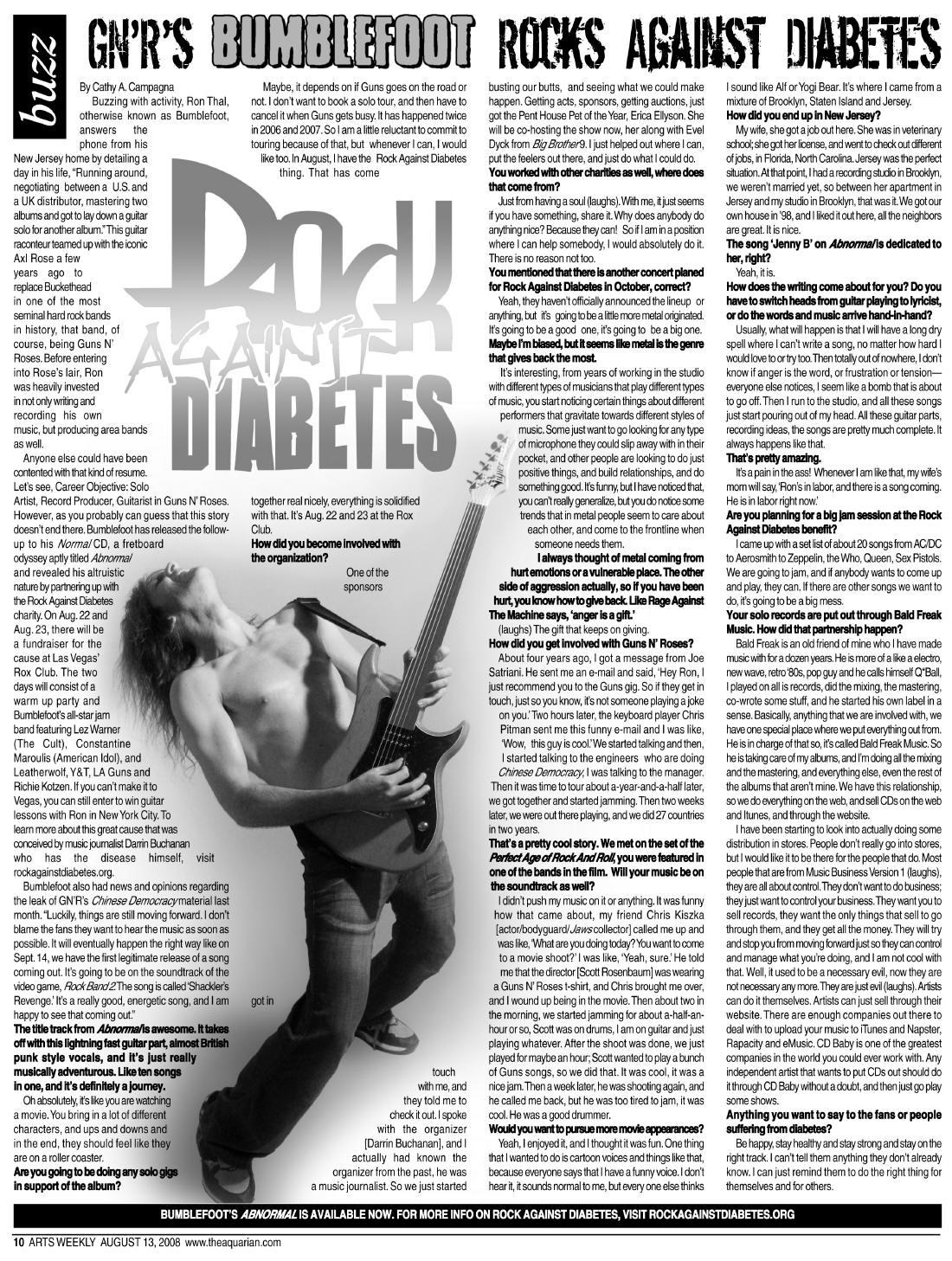 2008.08.13 - Aquarian Magazine - GN'R's Bumblefoot Rocks Against Diabetes 20080810