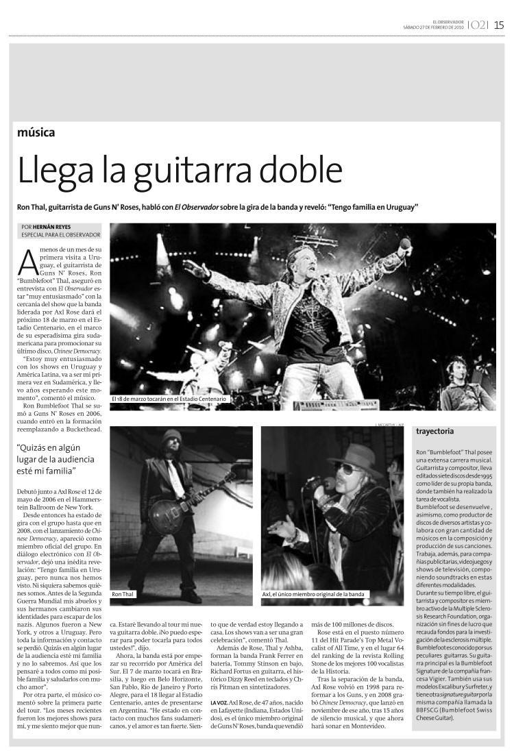 2010.02.27 - El Observador (Uruguay) - Interview with Bumblefoot 20100210