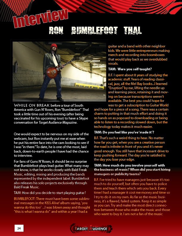 2010.03.DD - Target Audience Magazine - Interview with Bumblefoot 20100410