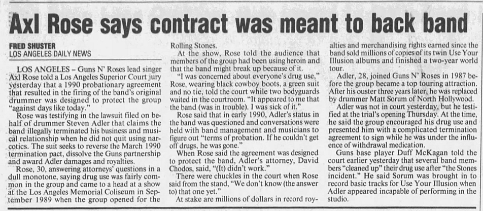 1993.08.24 - L.A. Daily News/Reno Gazette/The Tennessean - Reports on the Adler Vs GN'R trial Adlerc11
