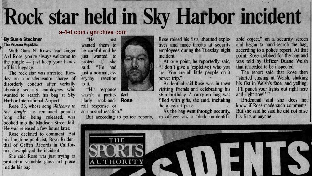 1998.02.12 - Arizona Republic - Rock Star Held In Sky Harbor Incident Axl-ar10