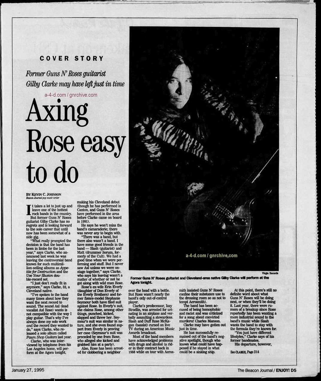 1995.01.27 - The Acron Beacon Journal - Axing Rose Easy To Do (Gilby) Gnr-gi11