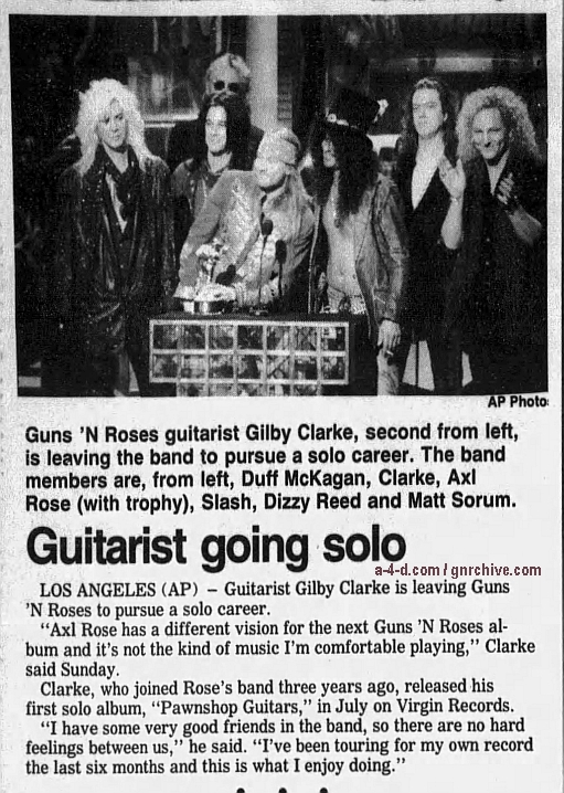 1995.01.16 - Associated Press/Daily World - Guitarist Going Solo (Gilby) Gnr-gi12