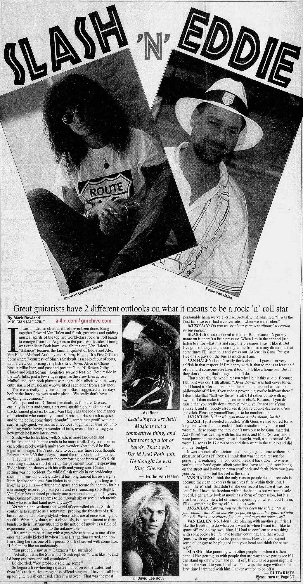 1995.03.DD - Musician Magazine/Quad City Times - Slash 'N' Eddie (Slash) Gnr-sl11