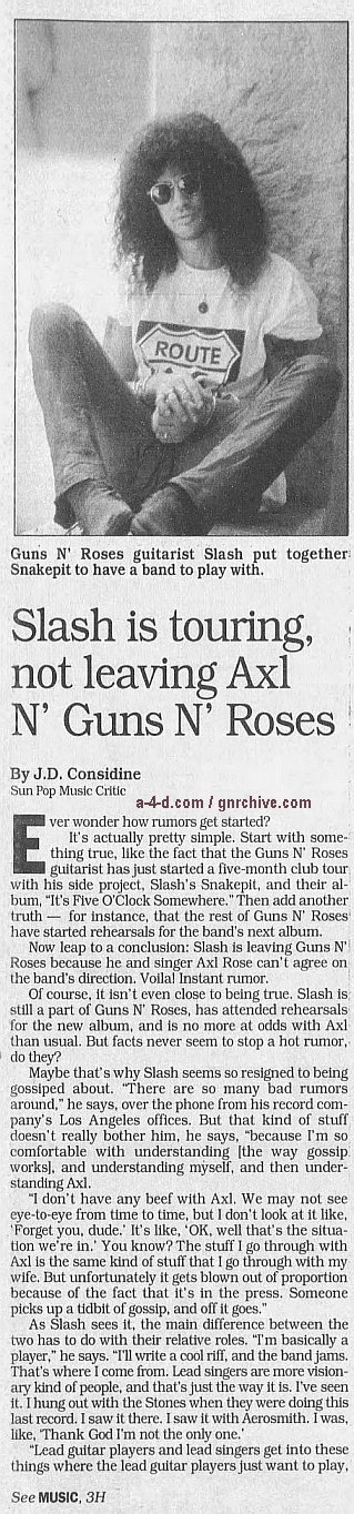 1995.04.09 - The Baltimore Sun - Slash is touring, not leaving Axl N' Guns N' Roses Gnr-sl12