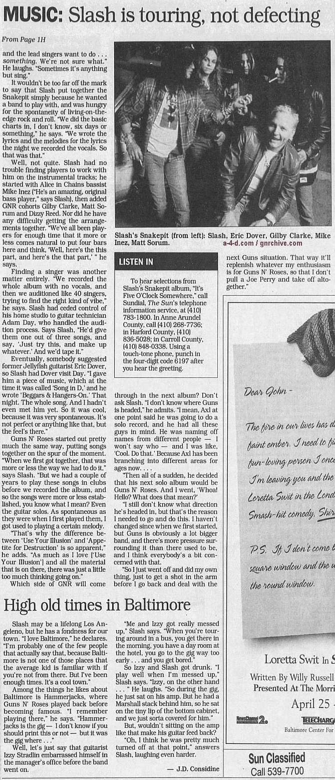 1995.04.09 - The Baltimore Sun - Slash is touring, not leaving Axl N' Guns N' Roses Gnr-sl13