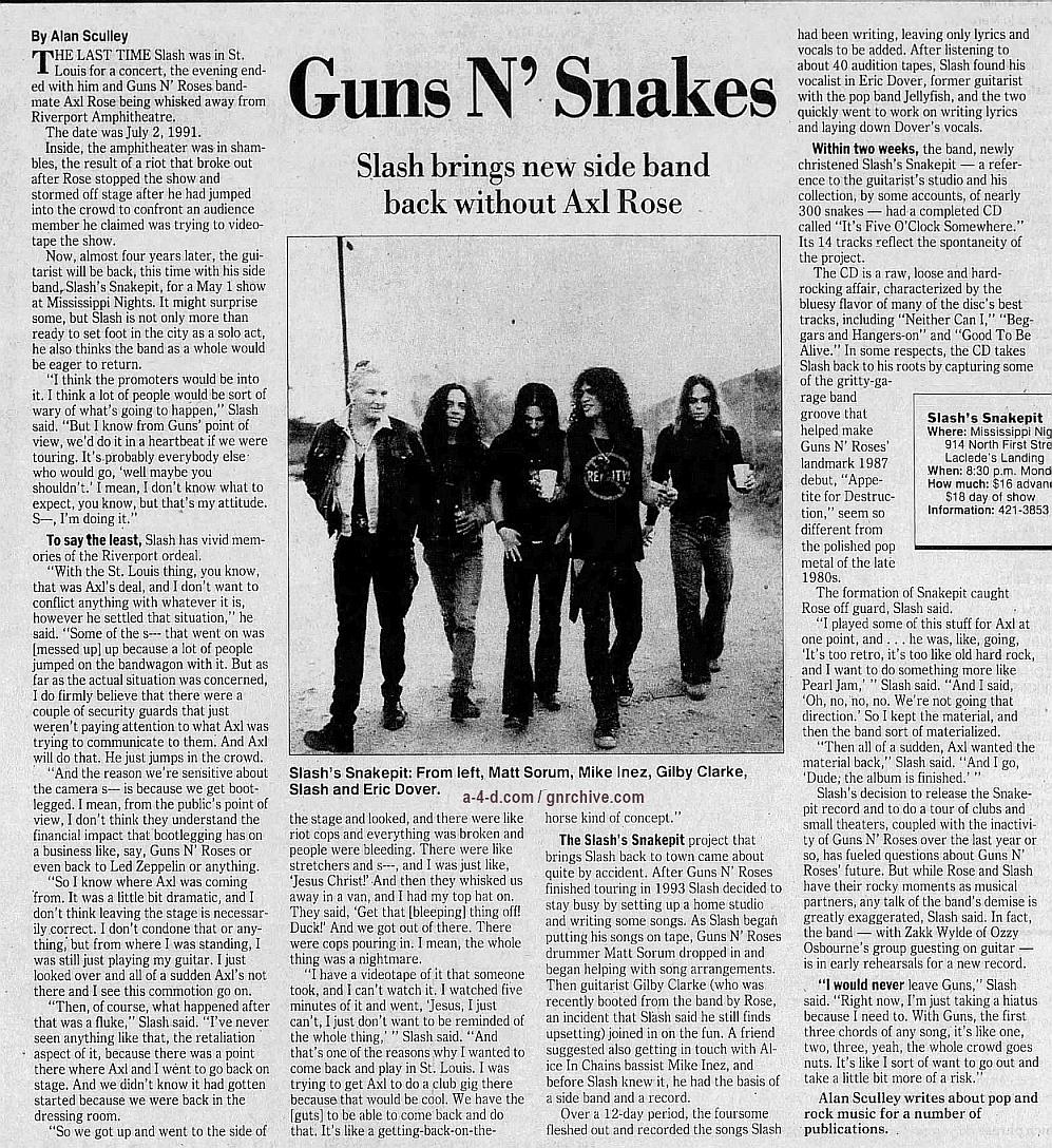 1995.04.28 - St. Louis Post-Dispatch - Guns N' Snakes (Slash) Gnr-sl14