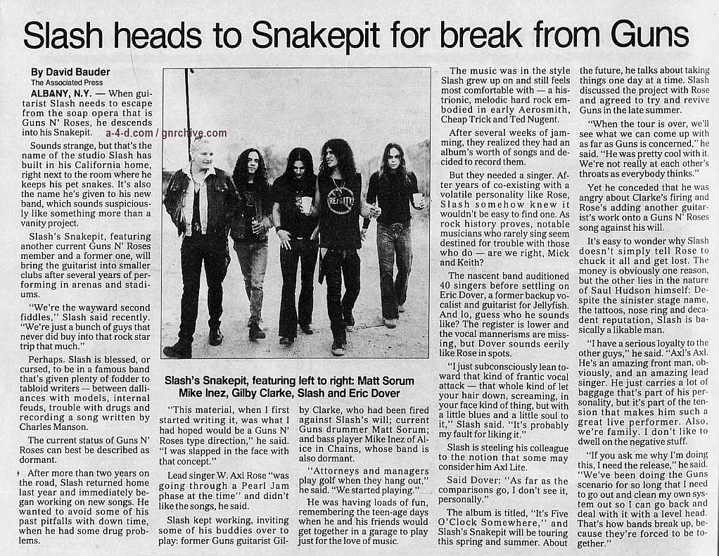 1995.03.03 - Associated Press/Greenville News - Slash Heads To Snakepit For Break From Guns Gnr-sl15