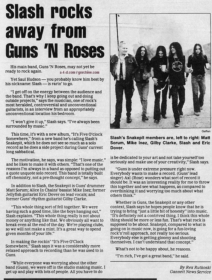 1995.04.28 - Florida Today - Slash Rocks Away From Guns N' Roses Gnr-sl17
