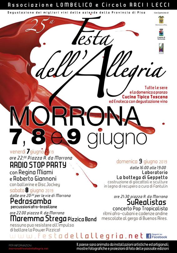 25° Festa dell'Allegria di Morrona (PI) 7,8 e 9 giugno 2019 Locand10