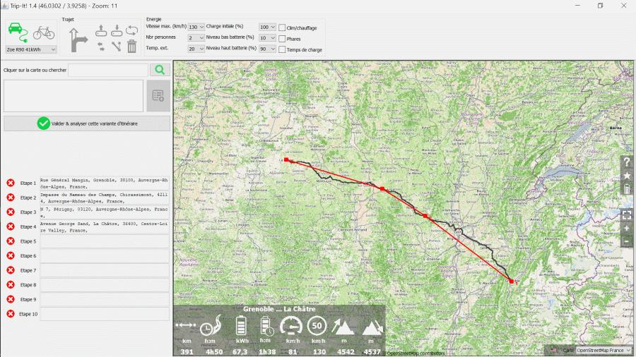 Un logiciel de calcul de trajet avec une bonne précision de consommation pour ZOE Defpoi10
