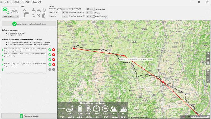 Un logiciel de calcul de trajet avec une bonne précision de consommation pour ZOE Trajet10