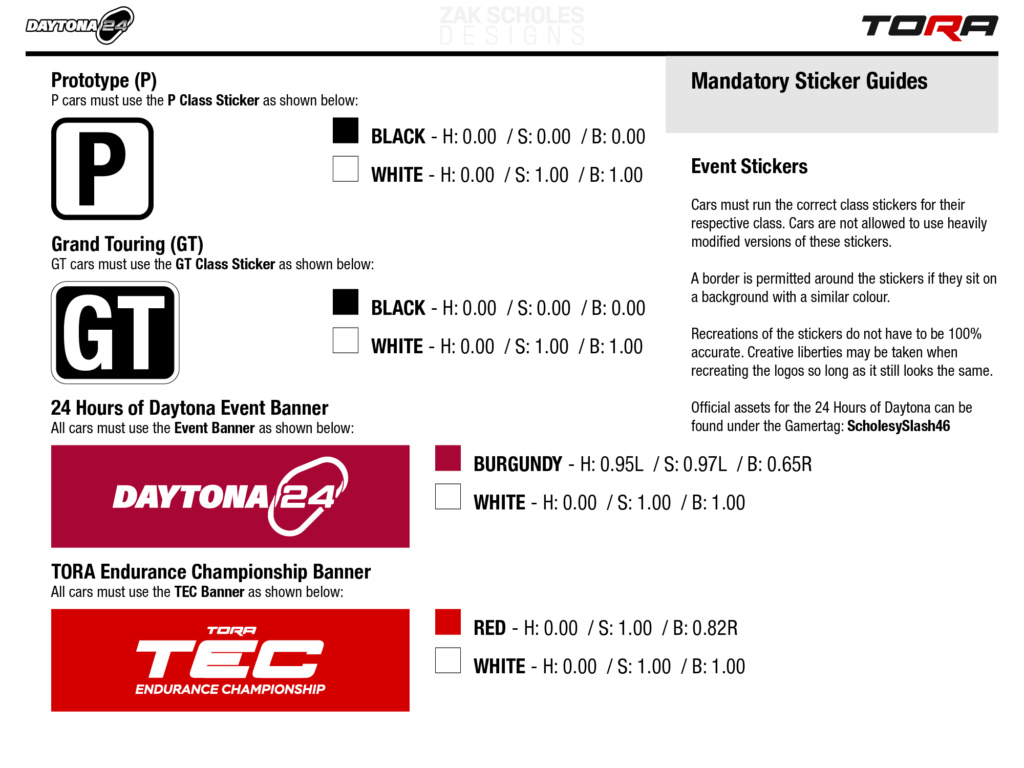 TEC R1 24 Hours of Daytona - Livery & Decal Rules 2021_l24