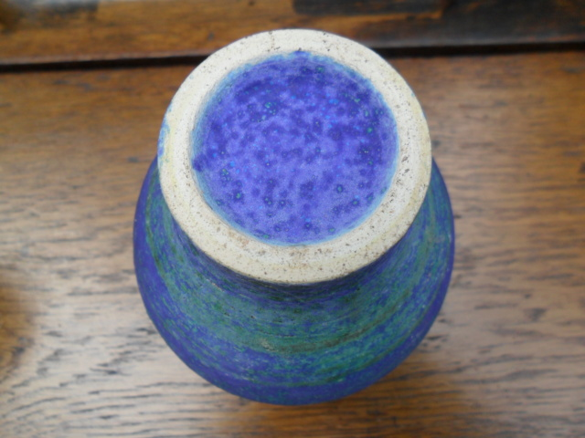 Electric Blue Coloured Vase; barium glaze. With No Marks Sam_4722