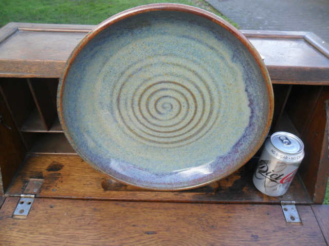 Large studio dish. No marks. Any ideas from the glazes etc? Sam_5131