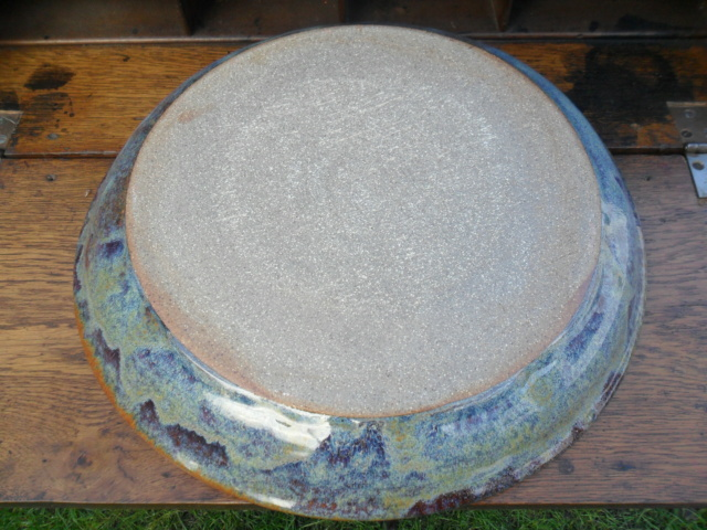 Large studio dish. No marks. Any ideas from the glazes etc? Sam_5132