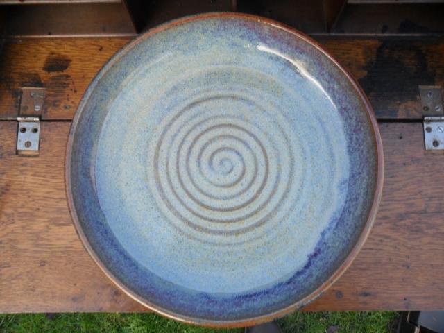 Large studio dish. No marks. Any ideas from the glazes etc? Sam_5133