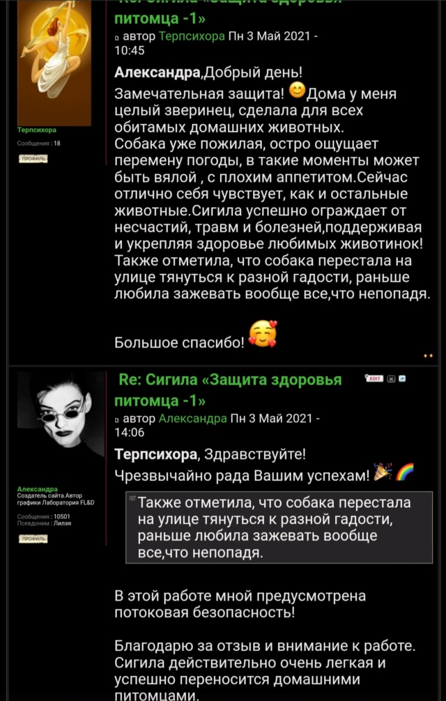 Сигила «Защита здоровья питомца -1» Screen26