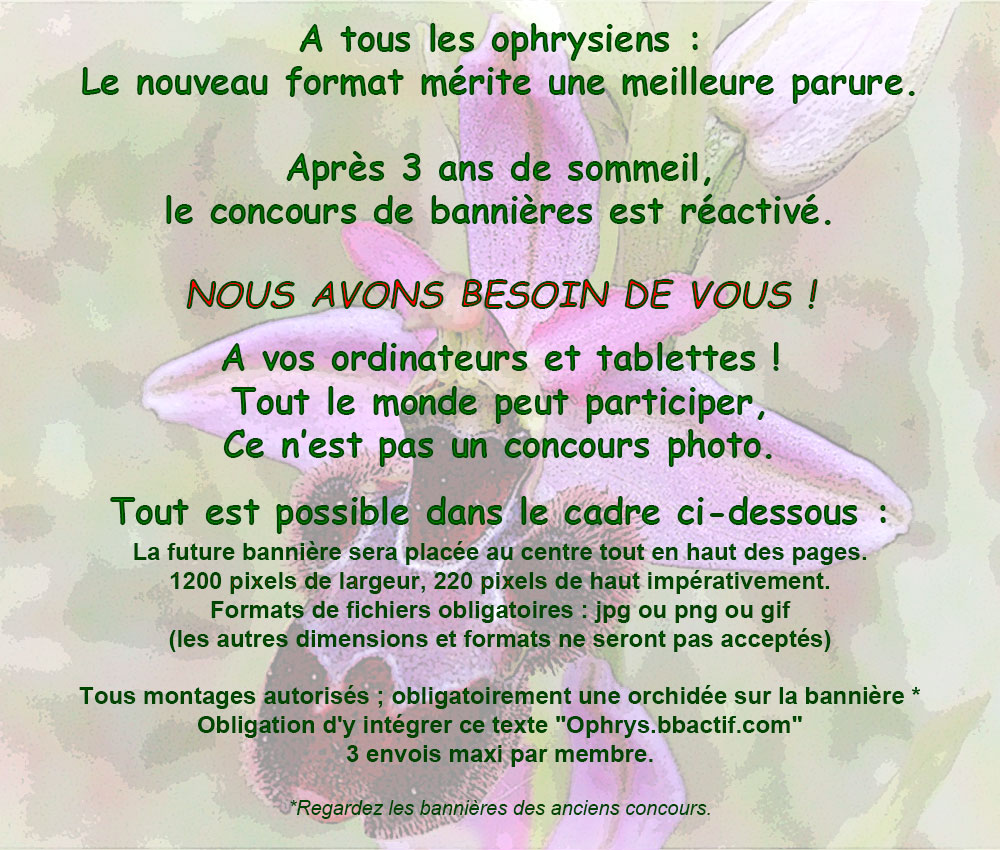 """Annonce de concours """"Nouvelles bannières"""" Ophrys14"""