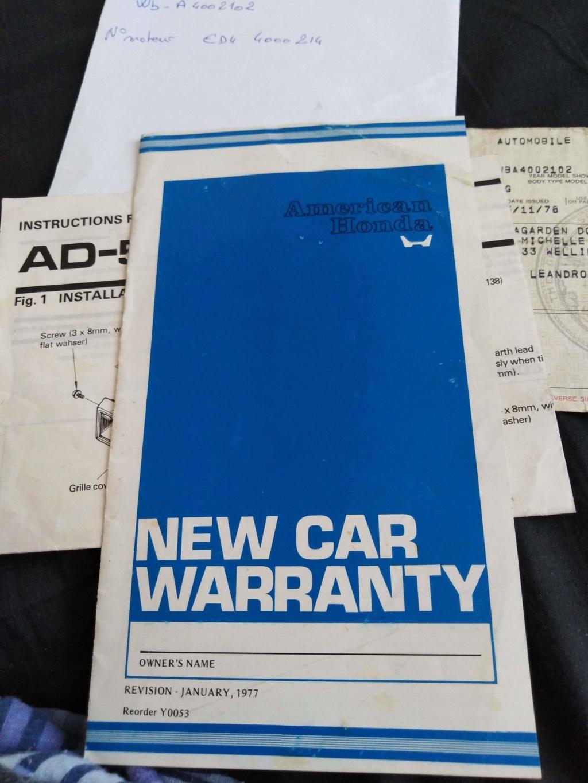 Enfin j'en ai une .. Honda CIVIC SB1 de 1977 1ère génération - Page 2 Receiv29
