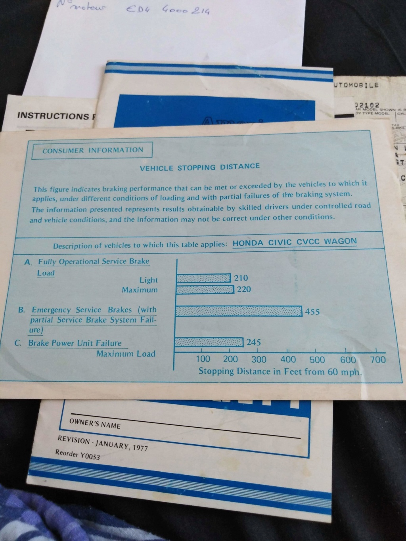 Enfin j'en ai une .. Honda CIVIC SB1 de 1977 1ère génération - Page 2 Receiv30
