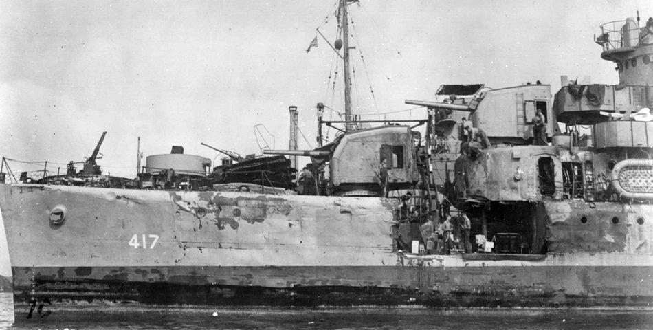 Navires US endommages par des kamikazes 05417210