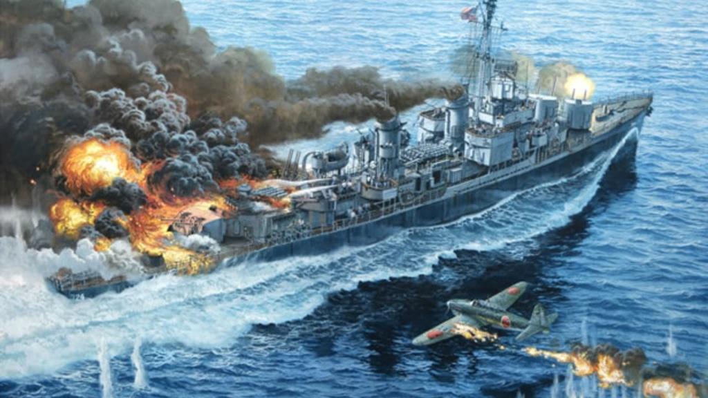 Navires US endommages par des kamikazes Laffey11