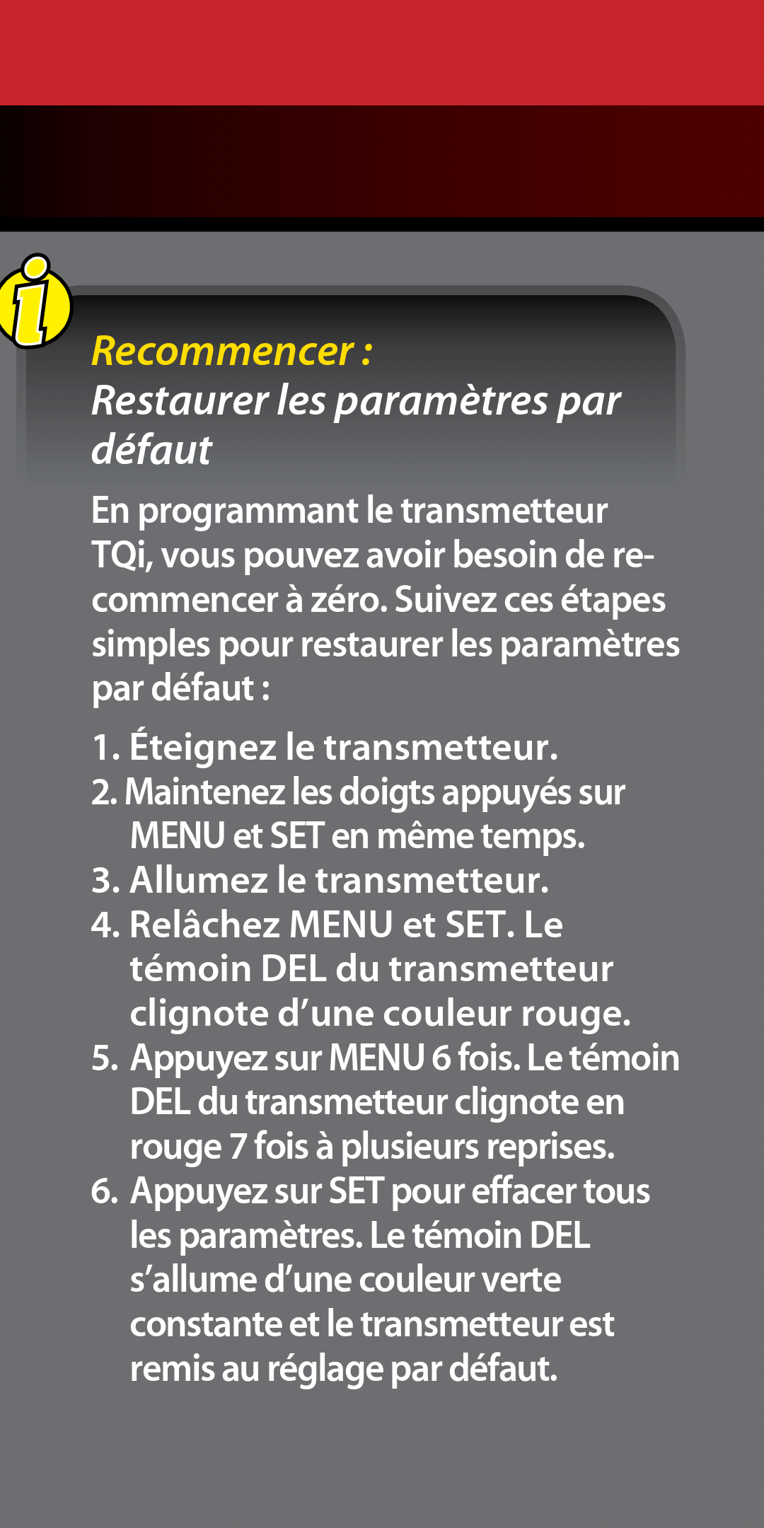 Comment réinitialiser ou faire un reset de la télécommande TQI du TRX-4 et réactiver les fonctions de base manuellement sans traxxas LINK ? Screen16