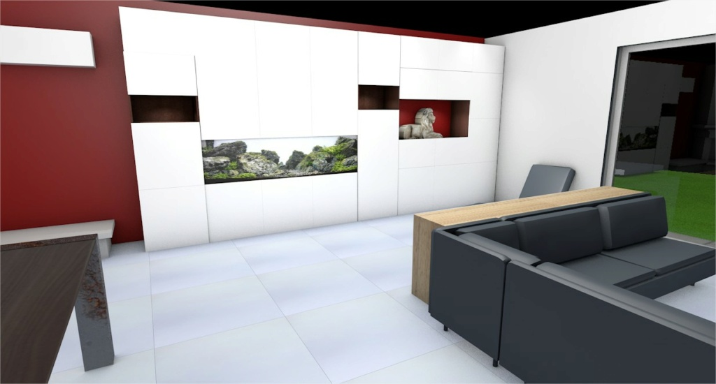 Projet aquarium 180cm intégré dans un meuble  Cinema13