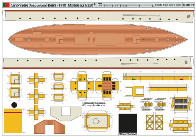 Modèle perso en papier, canonnière portugaise de 1910 : la Beïra 1/250e 0-plan10