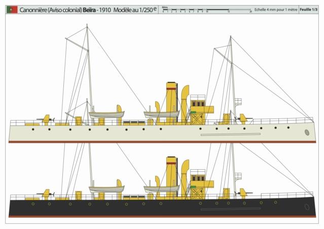 Modèle perso en papier, canonnière portugaise de 1910 : la Beïra 1/250e Canonn13