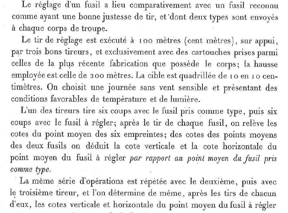 Hausse du GRAS 1874, sa ligne de mire évolutive et trajectoire de la Balle ...... Gras310