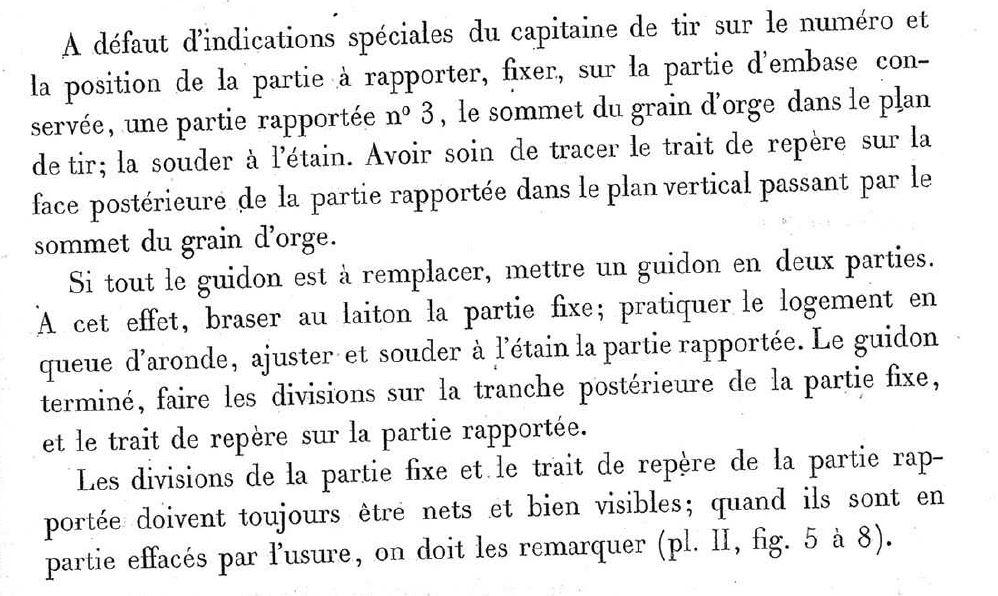 Hausse du GRAS 1874, sa ligne de mire évolutive et trajectoire de la Balle ...... Guidon12