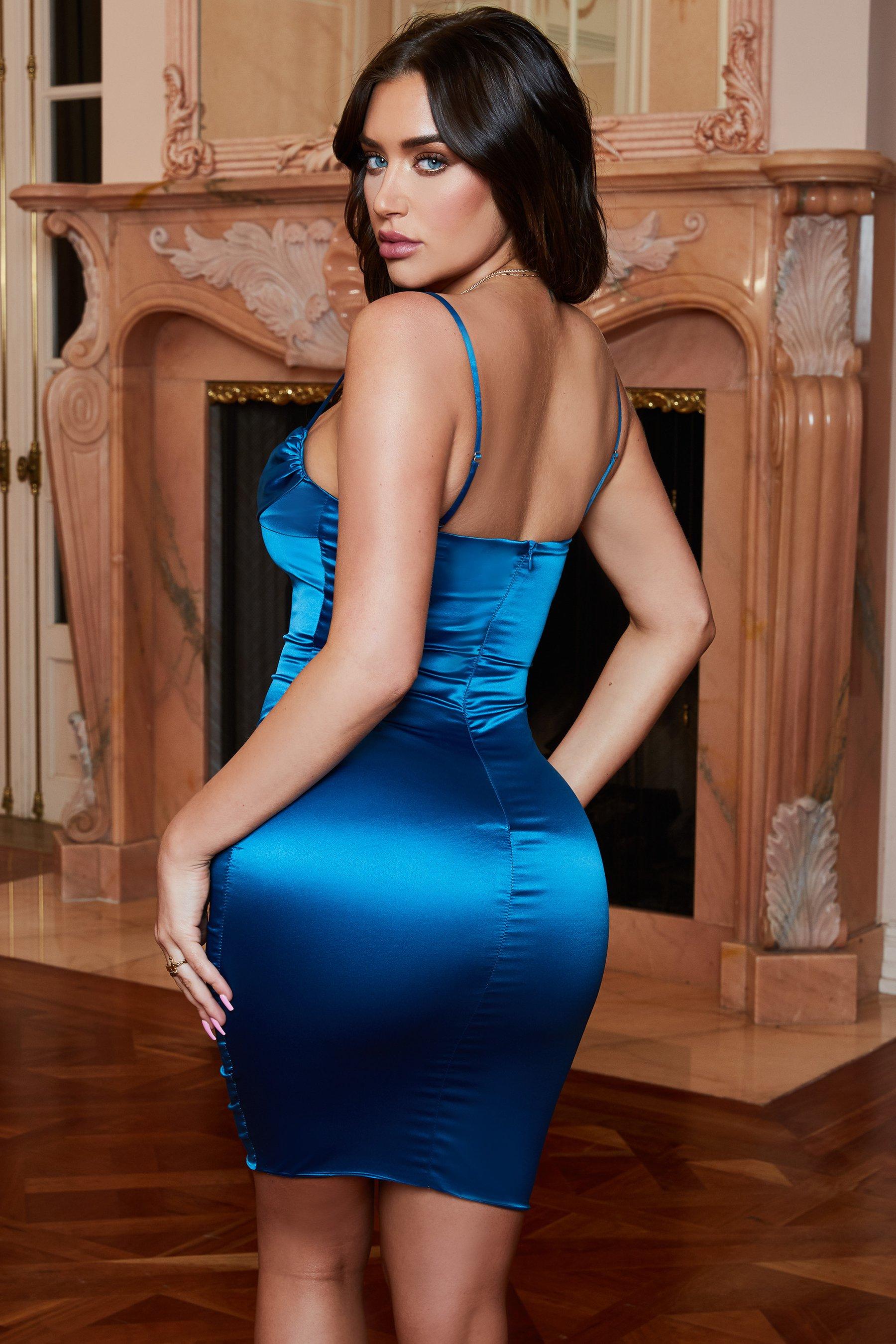 فستان سهرة حملات باللون التركواز الازرق الغامق P_151015