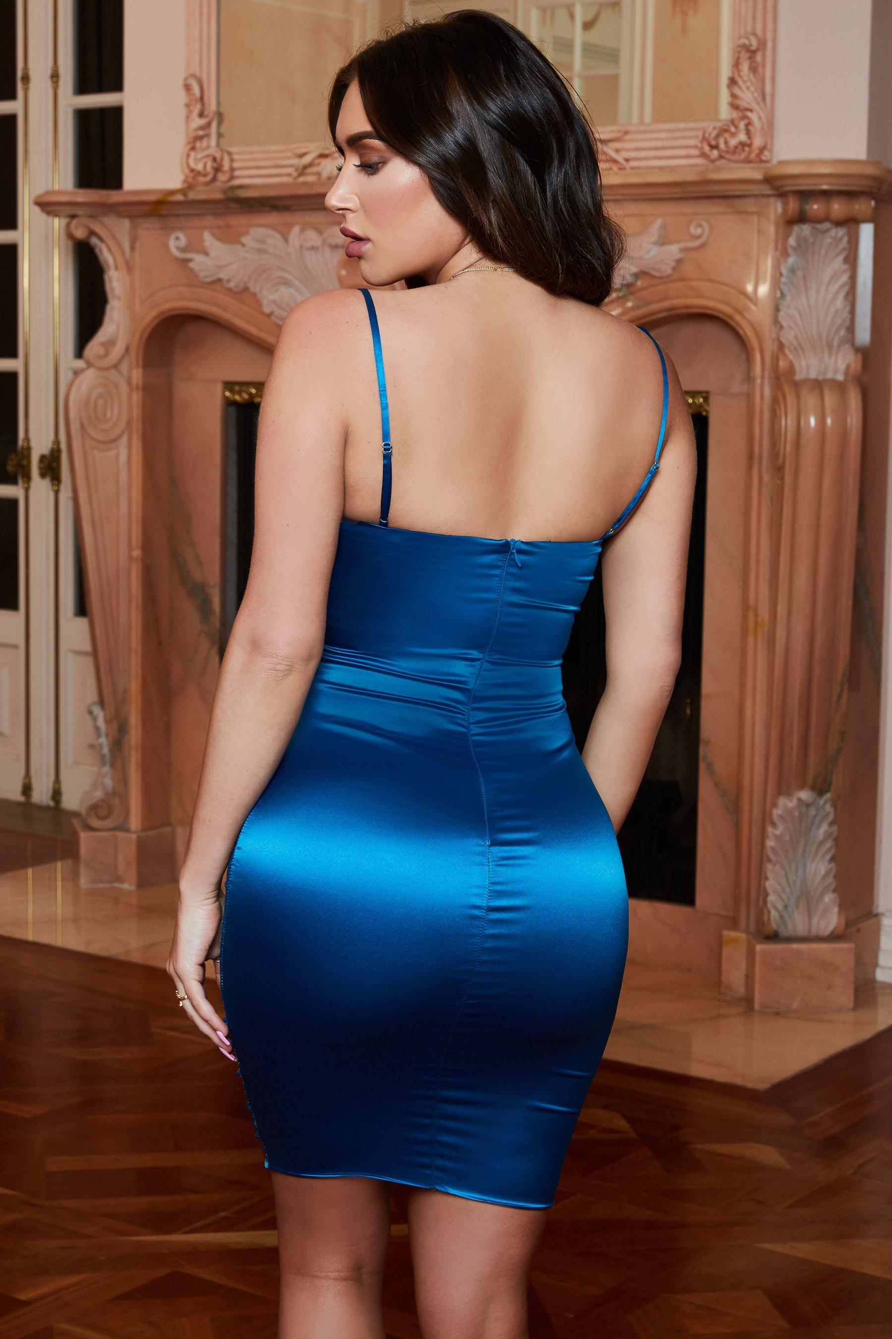 فستان سهرة حملات باللون التركواز الازرق الغامق P_151018