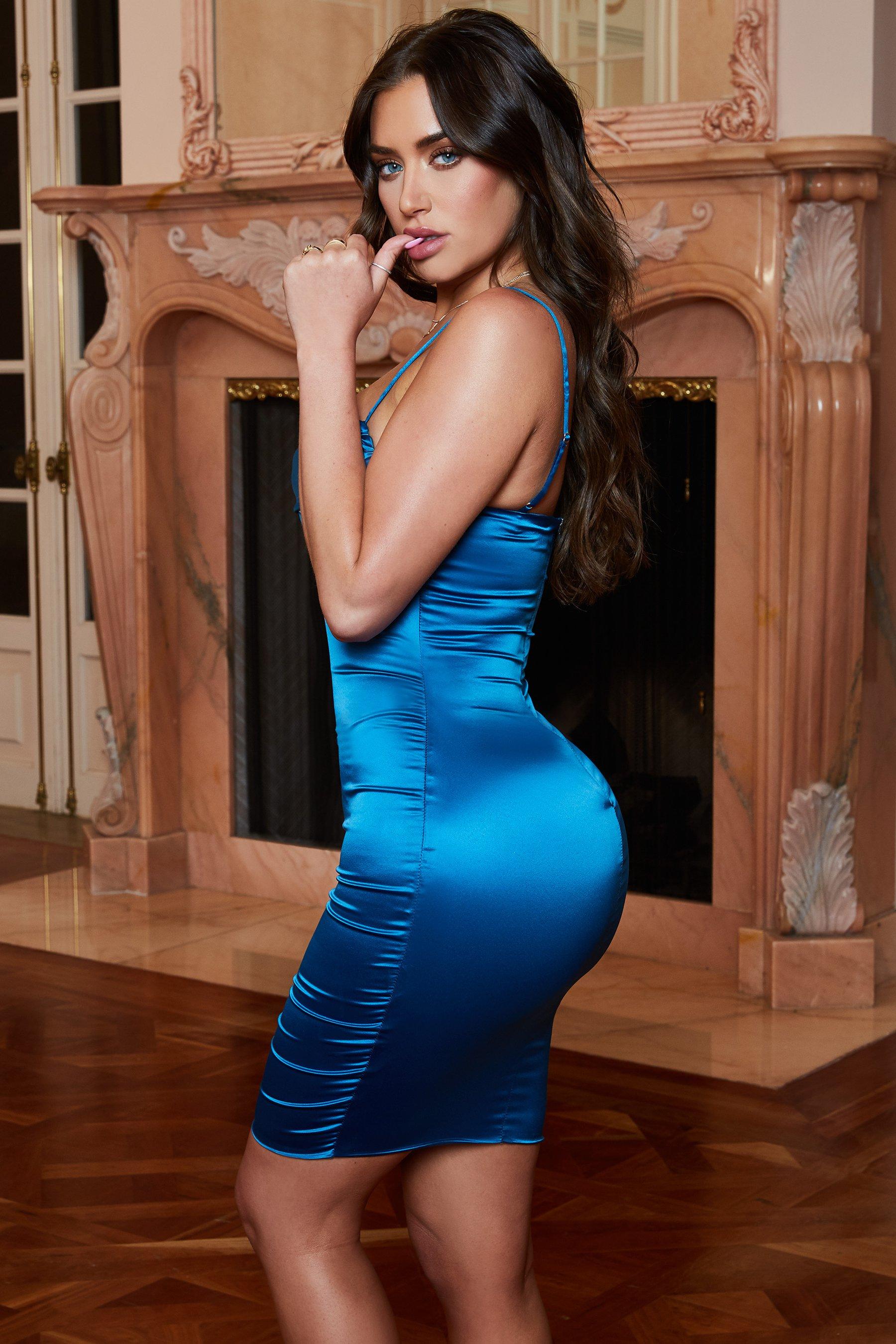 فستان سهرة حملات باللون التركواز الازرق الغامق P_151019