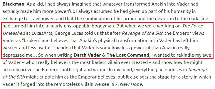 Hayden Blackman on Lucas, Vader vs Anakin Lucas10