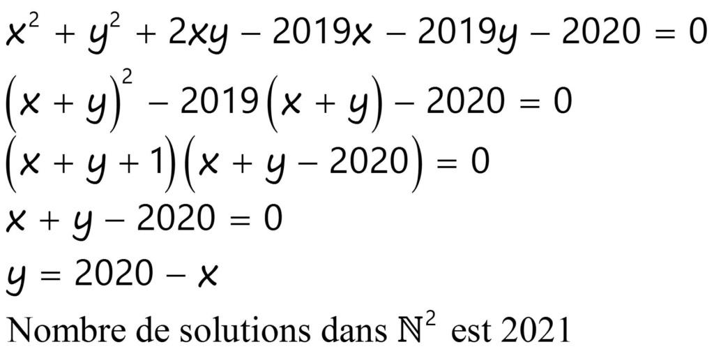 Nombre des solutions dans N² 2910