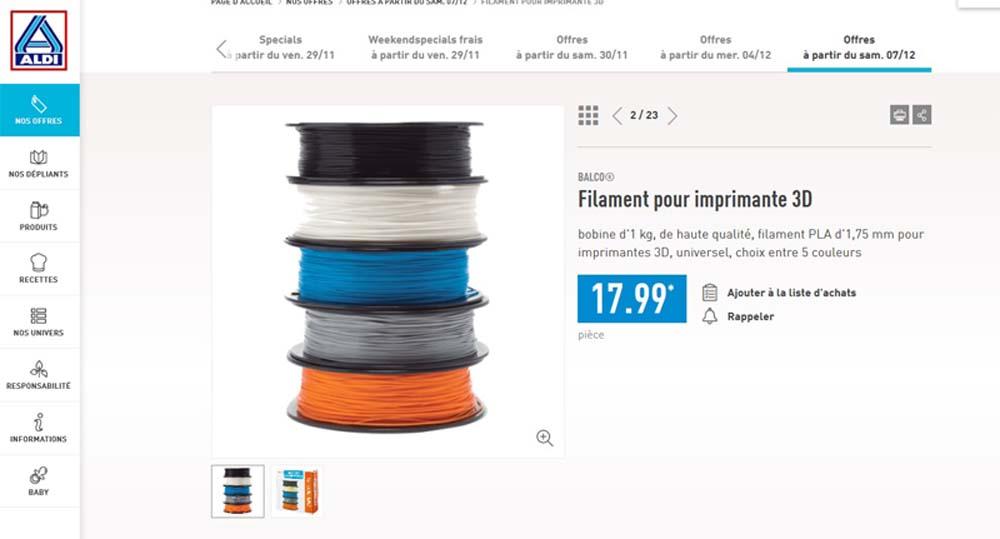 Imprimante 3D chez Aldi (Belgique). Filame10