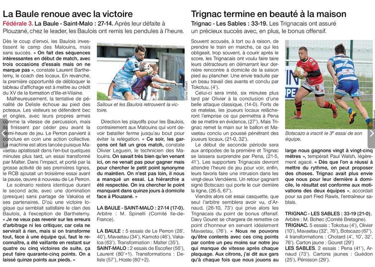 saison 2018/2019 journée 21 Rcb_vs17