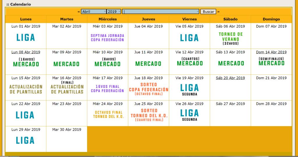 Calendario Oficial // Temporada 3 Abril13