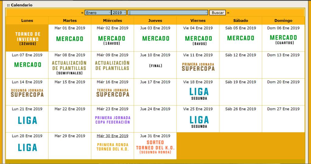 Calendario Oficial // Temporada 3 Enero12